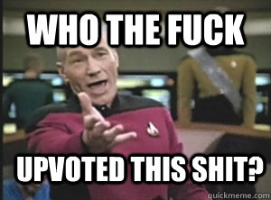 who the fuck upvoted this shit - Annoyed Picard