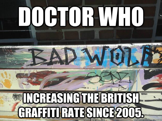 doctor who increasing the british graffiti rate since 2005 - BADWOLF.