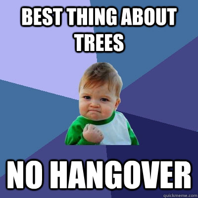 best thing about trees no hangover - Success Kid