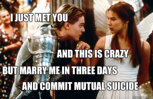 i just met you and this is crazy but marry me in three days  - call me maybe