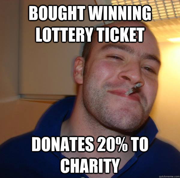 bought winning lottery ticket donates 20 to charity - Good Guy Greg-