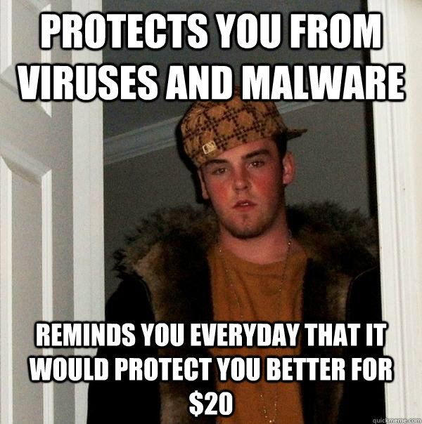 protects you from viruses and malware reminds you everyday t - Scumbag Steve