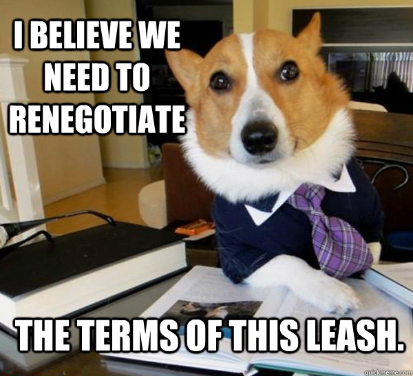 i believe we need to renegotiate the terms of this leash - Lawyer Dog