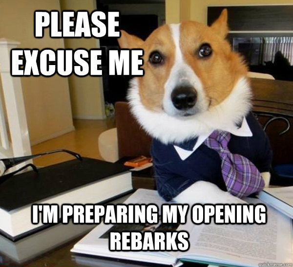 please excuse me im preparing my opening rebarks - Lawyer Dog