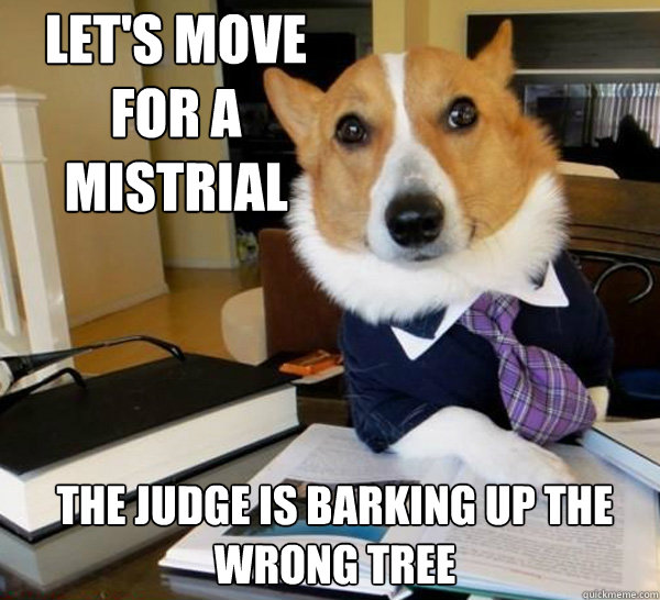 lets move for a mistrial the judge is barking up the wrong  - Lawyer Dog