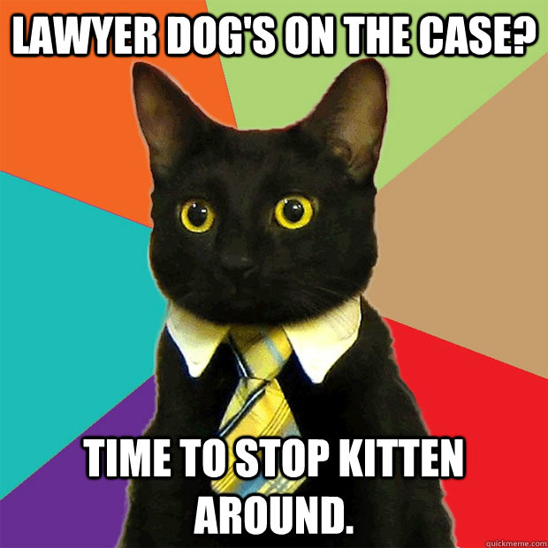 lawyer dogs on the case time to stop kitten around - Business Cat