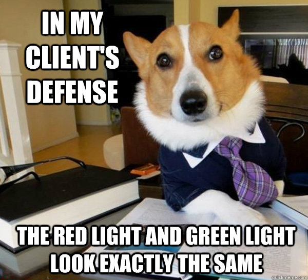 in my clients defense the red light and green light look ex - Lawyer Dog