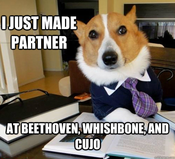 i just made partner at beethoven whishbone and cujo - Lawyer Dog