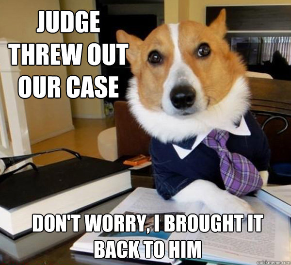 judge threw out our case dont worry i brought it back to h - Lawyer Dog