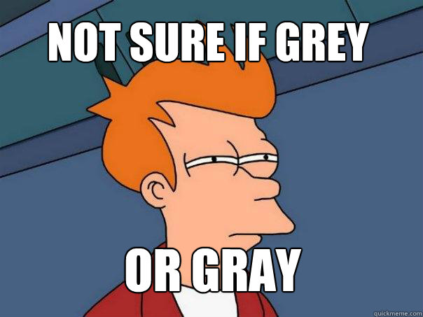not sure if grey or gray - Futurama Fry