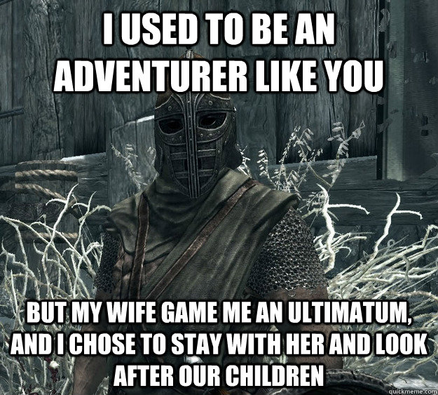 i used to be an adventurer like you but my wife game me an u - Rational Skyrim Guard