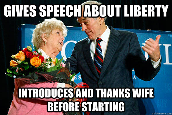 gives speech about liberty introduces and thanks wife before - revolutionary ron