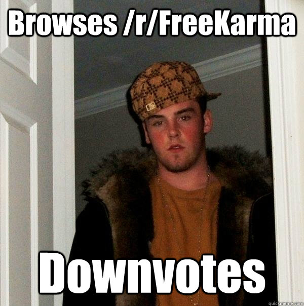 browses rfreekarma downvotes - Scumbag Steve