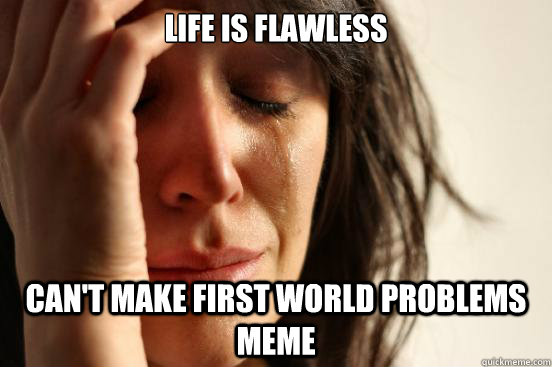 life is flawless cant make first world problems meme - First World Problems