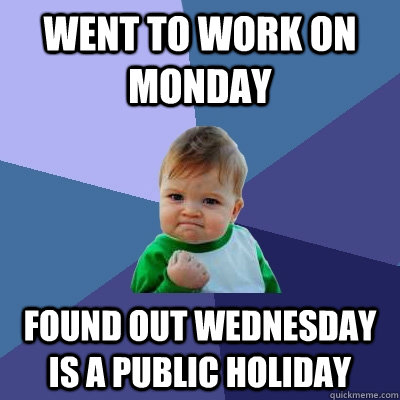 went to work on monday found out wednesday is a public holid - Success Kid