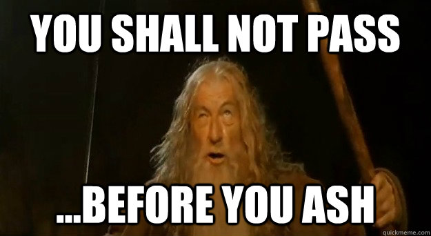 you shall not pass before you ash - Advice Gandalf