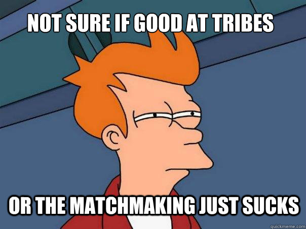 not sure if good at tribes or the matchmaking just sucks - Futurama Fry