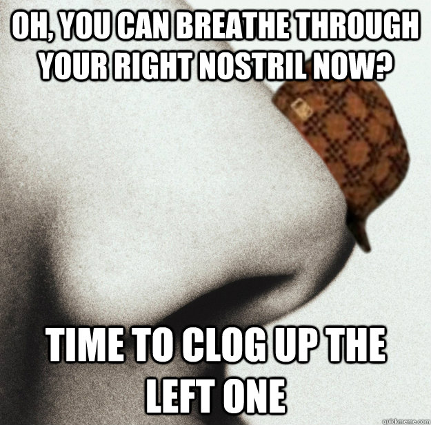oh you can breathe through your right nostril now time to  - Scumbag Nose