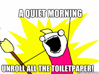 a quiet morning unroll all the toiletpaper - All The Things