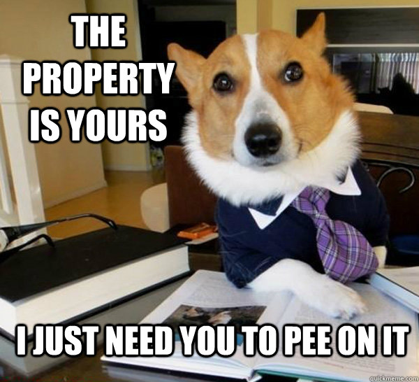 the property is yours i just need you to pee on it - Lawyer Dog