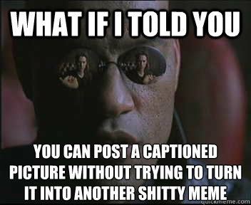 what if i told you you can post a captioned picture without  - Morpheus SC