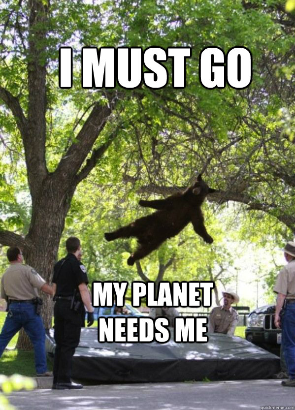i must go my planet needs me - Falling Bear