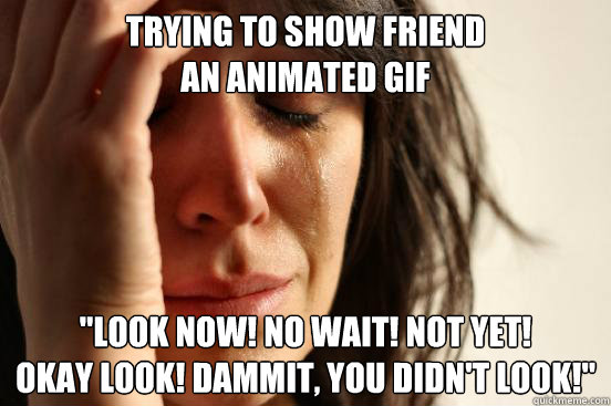 trying to show friend an animated gif look now no wait n - First World Problems