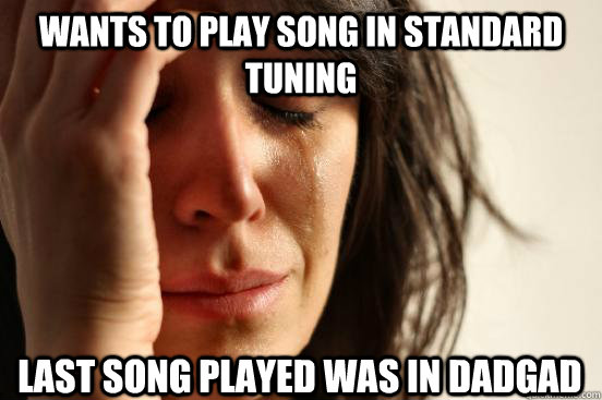 wants to play song in standard tuning last song played was i - First World Problems