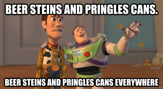 beer steins and pringles cans beer steins and pringles cans - Toy Story Everywhere