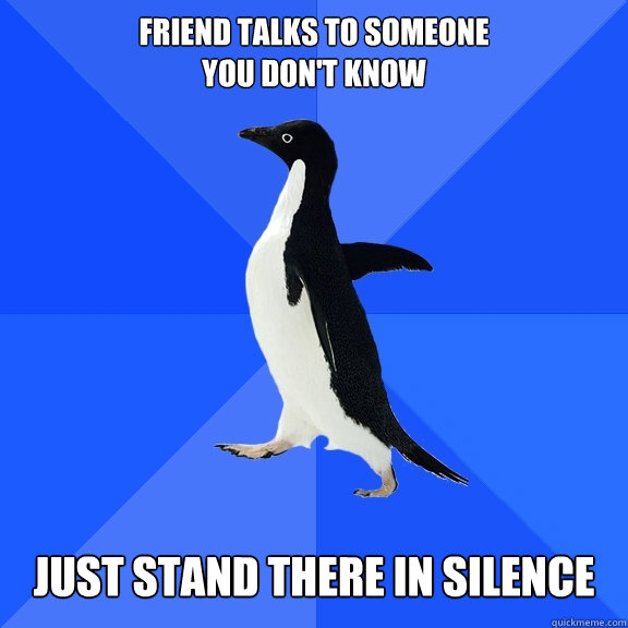 friend talks to someone you dont know just stand there in s - Socially Awkward Penguin