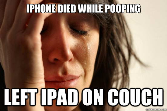 iphone died while pooping left ipad on couch - First World Problems