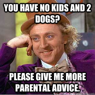 you have no kids and 2 dogs please give me more parental ad - Condescending Wonka