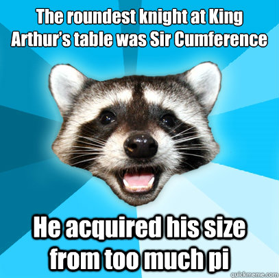the roundest knight at king arthurs table was sir cumferenc - Lame Pun Coon