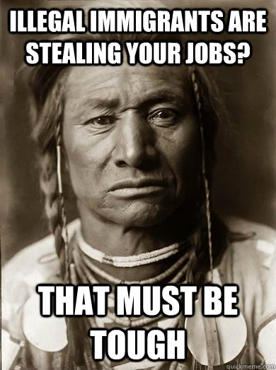 illegal immigrants are stealing your jobs that must be toug - Unimpressed American Indian