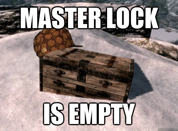 master lock is empty - Scumbag Treasure