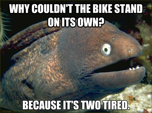 why couldnt the bike stand on its own because its two tir - Bad Joke Eel