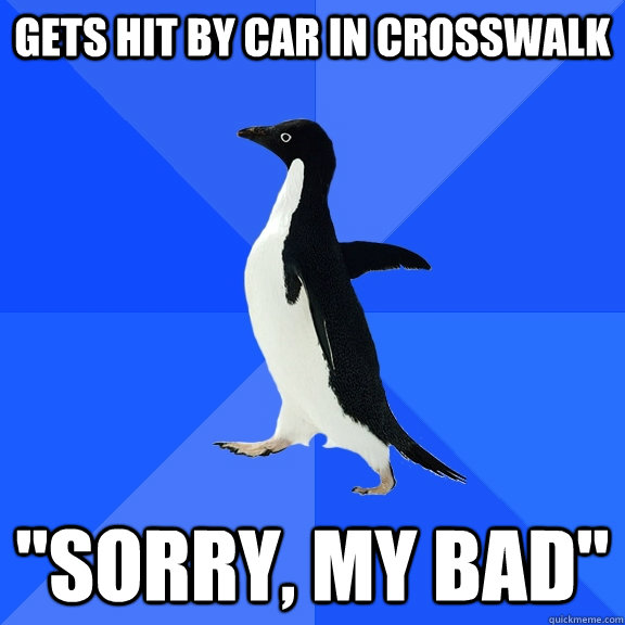 gets hit by car in crosswalk sorry my bad - Socially Awkward Penguin