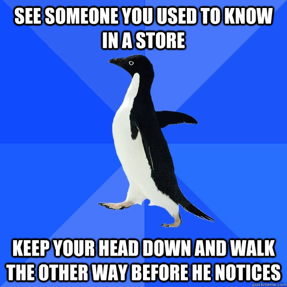 see someone you used to know in a store keep your head down  - Socially Awkward Penguin