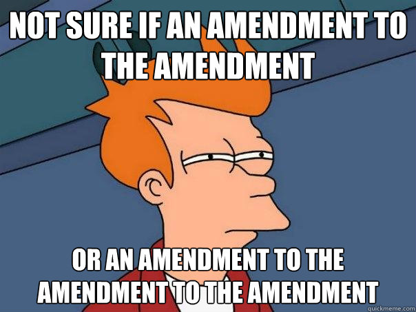 not sure if an amendment to the amendment or an amendment to - Futurama Fry