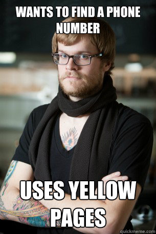 wants to find a phone number uses yellow pages - Hipster Barista
