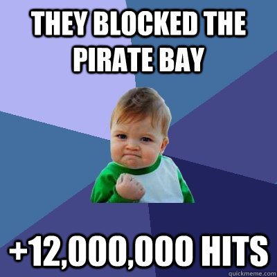 they blocked the pirate bay 12000000 hits - Success Kid