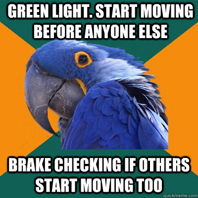 green light start moving before anyone else brake checking  - Paranoid Parrot