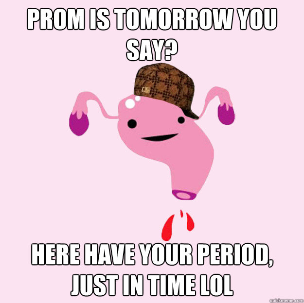Funny Uterus Meme : Prom is tomorrow you say here have your period just in