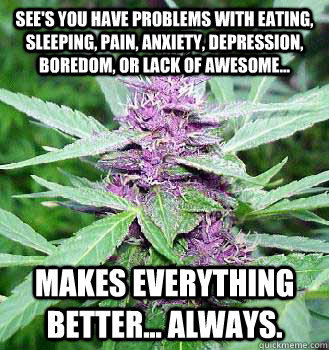 sees you have problems with eating sleeping pain anxiety - marijuana
