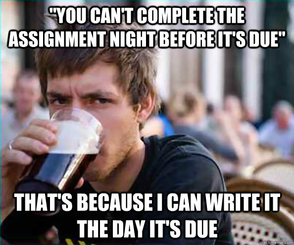 you cant complete the assignment night before its due th - Lazy College Senior