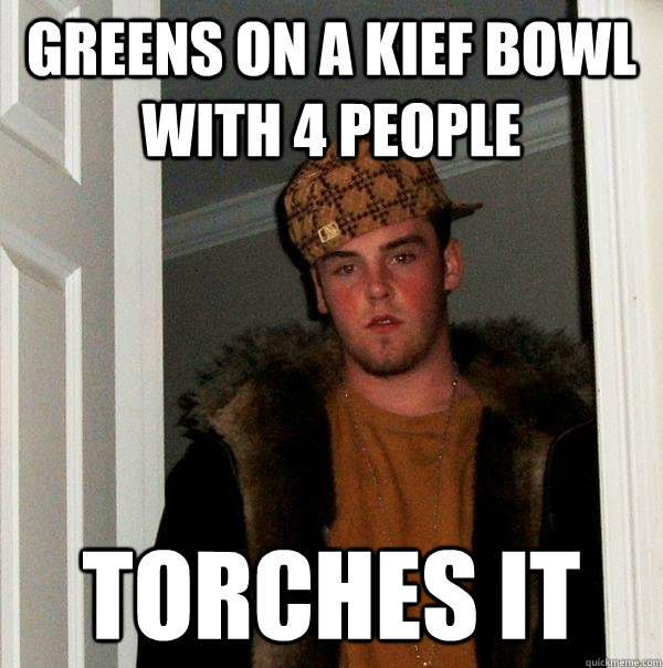 greens on a kief bowl with 4 people torches it - Scumbag Steve