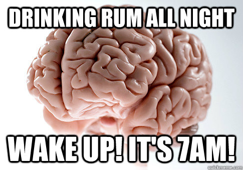 drinking rum all night wake up its 7am - Scumbag Brain