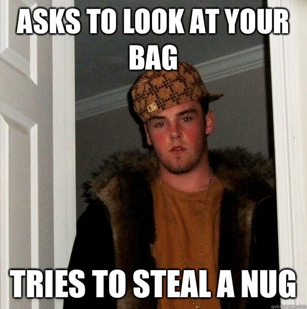 Asks to look at your bag Tries to steal a nug - Scumbag Steve