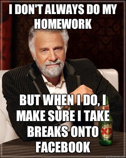 I always do my homework in french