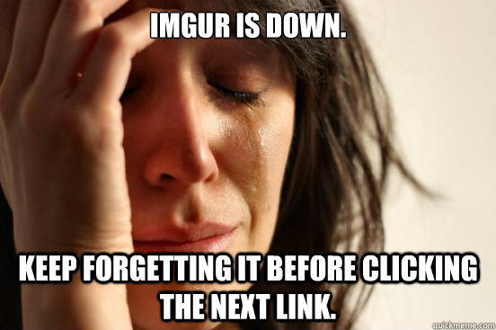 imgur is down keep forgetting it before clicking the next l - First World Problems
